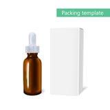 Modello del pacchetto dell'olio essenziale cosmetico con una bottiglia della pipetta L'idea dei cosmetici e delle medicine di dis Immagini Stock Libere da Diritti