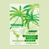 Modello del partito della spiaggia di estate con le palme e del cocktail Immagini Stock Libere da Diritti