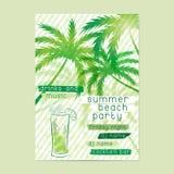 Modello del partito della spiaggia di estate con le palme e del cocktail Fotografia Stock