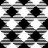 Modello del plaid del boscaiolo in bianco e nero Disposizione diagonale Reticolo senza giunte di vettore Tessuto d'annata semplic royalty illustrazione gratis