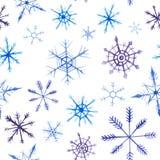 Modello del quadrato di natale dell'acquerello Ornamento del nuovo anno con neve ed il fiocco di neve Per progettazione, la stamp Fotografia Stock Libera da Diritti