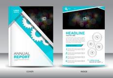 Modello del rapporto annuale e, elementi dei grafici di informazioni, copertura blu de Immagini Stock