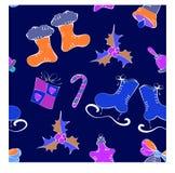 Modello del ` s del nuovo anno con i pattini su un blu Fotografie Stock