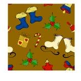 Modello del ` s del nuovo anno con i pattini su un marrone Immagini Stock