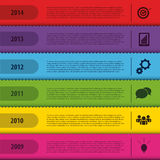 Modello del segnalibro di progettazione Cronologia di Infographics Vettore Fotografie Stock Libere da Diritti