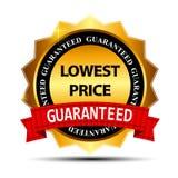 Modello del segno dell'etichetta dell'oro di garanzia di prezzi più bassi Fotografia Stock Libera da Diritti
