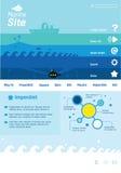 Modello del sito Web con le tematiche marine Fotografia Stock