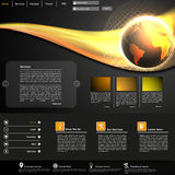 Modello del sito Web di affari con l'illustrazione brillante del globo Fotografia Stock