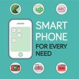 Modello del telefono con posizione Pin Icon, icona della macchina fotografica, icona Vect di chiacchierata Fotografia Stock