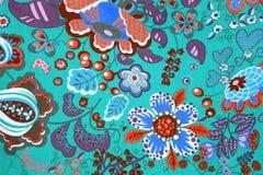 Modello del tessuto con l'immagine classica dei fiori variopinti sulla b Fotografia Stock
