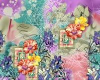 Modello del tessuto del fondo con il fiore Fotografia Stock