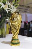 Modello del trofeo della coppa del Mondo di Fifa Fotografie Stock Libere da Diritti