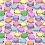 Modello delizioso dolce dell'acquerello con i macarons Priorità bassa disegnata a mano illustrazione sul rosa Fotografie Stock