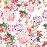 Modello dell'acquerello con i fiori, le rose e le bacche della peonia Immagini Stock Libere da Diritti