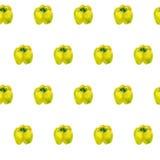 Modello dell'acquerello con i peperoni gialli Fondo senza cuciture con i peperoni dolci Può essere usato per i tessuti, strutture Immagine Stock Libera da Diritti