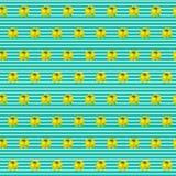Modello dell'acquerello con i peperoni gialli su fondo a strisce marino Fondo senza cuciture con i peperoni dolci può essere usat Fotografia Stock