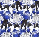 Modello dell'acquerello con i vestiti di inverno Immagini Stock Libere da Diritti