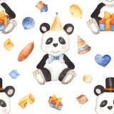 Modello dell'acquerello con il panda ed i giocattoli royalty illustrazione gratis