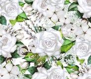 Modello dell'acquerello con le rose Fotografia Stock Libera da Diritti