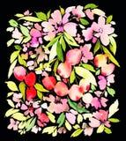 Modello dell'acquerello della ciliegia Immagini Stock Libere da Diritti