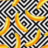 Modello dell'acquerello delle banane, fondo geometrico Immagine Stock Libera da Diritti