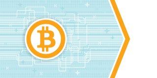 Modello dell'aletta di filatoio del blockchain di Bitcoin Cryptocurrency Fotografie Stock Libere da Diritti