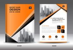 Modello dell'aletta di filatoio dell'opuscolo del rapporto annuale, progettazione arancio della copertura royalty illustrazione gratis