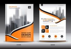 Modello dell'aletta di filatoio dell'opuscolo del rapporto annuale, progettazione arancio della copertura illustrazione vettoriale