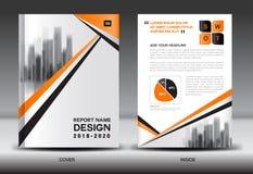 Modello dell'aletta di filatoio dell'opuscolo del rapporto annuale, progettazione arancio della copertura Fotografia Stock Libera da Diritti