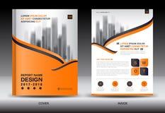 Modello dell'aletta di filatoio dell'opuscolo del rapporto annuale, progettazione arancio della copertura Immagine Stock Libera da Diritti