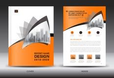 Modello dell'aletta di filatoio dell'opuscolo del rapporto annuale, progettazione arancio della copertura Fotografie Stock