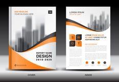 Modello dell'aletta di filatoio dell'opuscolo del rapporto annuale, progettazione arancio della copertura Fotografia Stock