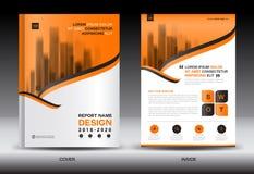 Modello dell'aletta di filatoio dell'opuscolo del rapporto annuale, progettazione arancio della copertura Immagini Stock