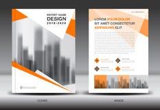 Modello dell'aletta di filatoio dell'opuscolo del rapporto annuale, progettazione arancio della copertura Immagine Stock