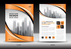 Modello dell'aletta di filatoio dell'opuscolo del rapporto annuale, progettazione arancio della copertura Immagini Stock Libere da Diritti