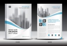 Modello dell'aletta di filatoio dell'opuscolo del rapporto annuale, progettazione blu della copertura illustrazione di stock