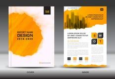 Modello dell'aletta di filatoio dell'opuscolo del rapporto annuale, progettazione gialla della copertura illustrazione di stock