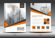 Modello dell'aletta di filatoio dell'opuscolo di affari A4 nella dimensione, progettazione arancio della copertura Immagine Stock Libera da Diritti