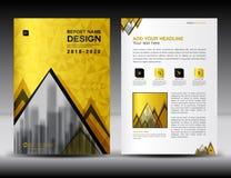 Modello dell'aletta di filatoio dell'opuscolo di affari A4 nella dimensione, progettazione della copertura dell'oro, illustrazione di stock