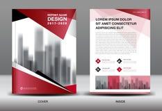 Modello dell'aletta di filatoio dell'opuscolo di affari, progettazione rossa della copertura royalty illustrazione gratis