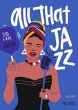 Modello dell'aletta di filatoio o del manifesto per la prestazione di musica di jazz con il cantante femminile afroamericano, il  illustrazione vettoriale