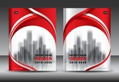 Modello dell'aletta di filatoio dell'opuscolo del rapporto annuale, progettazione rossa della copertura Fotografia Stock Libera da Diritti