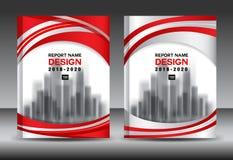 Modello dell'aletta di filatoio dell'opuscolo del rapporto annuale, progettazione rossa della copertura illustrazione di stock