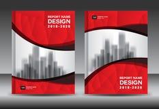 Modello dell'aletta di filatoio dell'opuscolo del rapporto annuale, progettazione rossa della copertura Immagine Stock