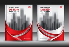 Modello dell'aletta di filatoio dell'opuscolo del rapporto annuale, progettazione rossa della copertura, affare Fotografia Stock Libera da Diritti
