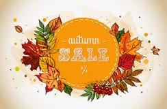 Modello dell'aletta di filatoio di vendita di autunno con le foglie disegnate a mano illustrazione di stock