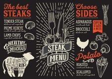 Modello dell'alimento del menu della bistecca per il ristorante con lo scarabocchio g disegnato a mano illustrazione vettoriale