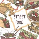 Modello dell'alimento della via con gli schizzi di colore dei piatti tradizionali sul fondo della lavagna illustrazione di stock