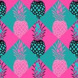 Modello dell'ananas nel rosa ed in alzavola illustrazione di stock
