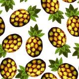 Modello dell'ananas, stampa tropicale fotografia stock